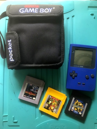 Qty of 1 Vintage Nintendo Blue Gameboy Pockets with Carrying Bag and 3 Games