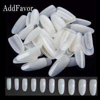 Addfavor 500pcs False Nail Tips Full Cover Oval Natural Nail Art French Acrylic Artificial Fake Na