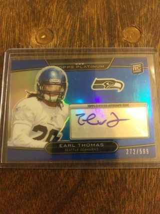 2010 TOPPS PLATINUM BLUE ROOKIE AUTOGRAPH CARD OF EARL THOMAS 272/599