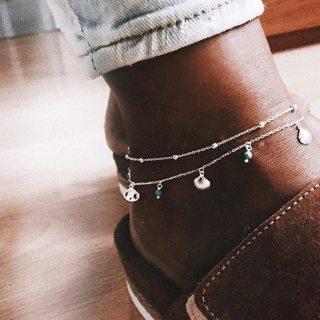2 Pcs/set Women's Exquisite Gems Beads Pendant Silver Anklet Set Bohemian Temperament Jewelry
