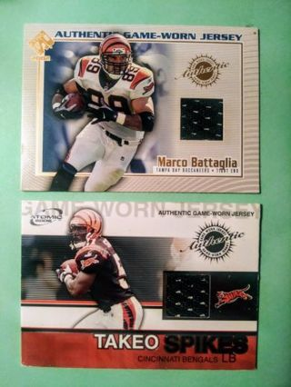 2 NFL Game-Worn Jersey Cards