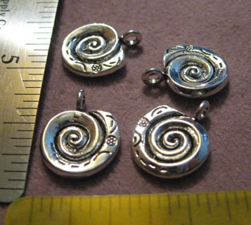4 Silvertone Pewter Spiral Drops ~ nice Quality!
