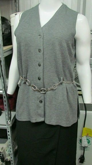 Plus Size Diana Margo Designer Top Sweater Belt Loop Button Down~