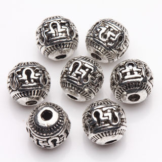 20Pcs Tibetan Silver Hollow Carving Spacer Beads Bracelet Finding Craft 8mm