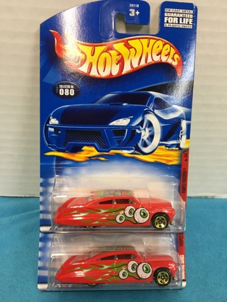L539 2001 HOT WHEELS MONSTER SER PURPLE PASSION RED DIE CAST CARS x2