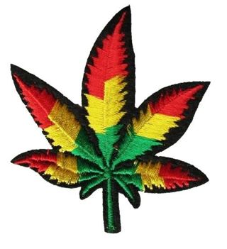 1 NEW Rasta Cannabis Leaf Patch IRON ON clothing patch applique embroidery diy crafts
