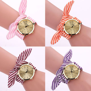 New Women Bracelet Watch Stripe Floral Cloth