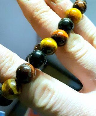 Natural tumbled & polished multi-stone bracelet. Cats eye snowflake obsidian & more *Bonus drawings*