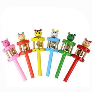 Baby Toy Cartoon Animal Wooden Handbell Musical Developmental Instrument zy 2018