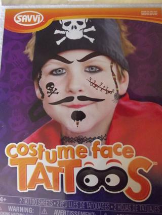 BNIP SAVVI Costume Face Tattoo Pirate Theme