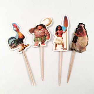 24Pcs Moana Cartoon Cupcake Toppers Picks Kids Birthday Party Decoration Supplie