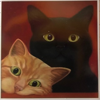 """Pair of Cats - 3 x 3"""" MAGNET"""