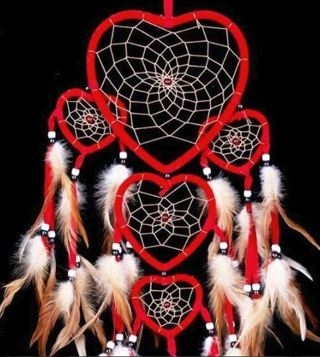 "1 NEW Heart 29.5"" Mystic Art Pattern Ornament Dream Catcher Feathers Heart Love Soul"