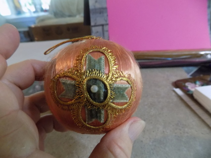Hand made peach satin covered Christmas ball ornament