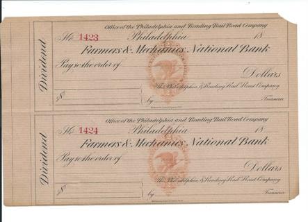 Farmers & Mechanics Bank Dividend Checks from the 1800s Philadelphia
