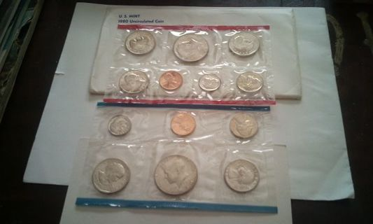 DON'S DAILY DEAL. US MINT.1980 UNC SET. P AND D MINTS. 3 SUSAN B ANTHONY DOLLARS. IN SET.