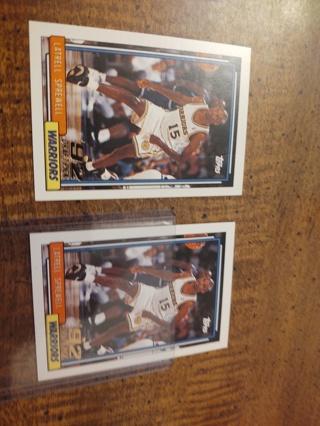 Two Card lot basketball 1992 NBA pick latrell spreaell ,both Rookies warriors basketball