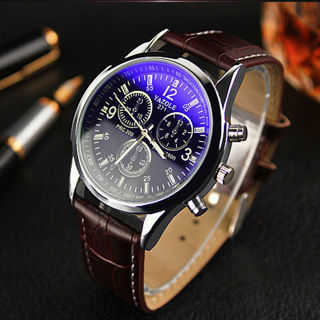 [GIN FOR FREE SHIPPING] Men Date Leather Stainless Steel Military Sport Quartz Wrist Watch