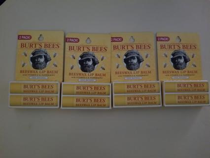 (8) TUBES BURT'S BEE'S LIP BALM PEPPERMINT