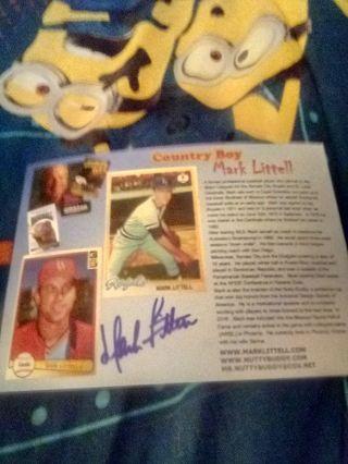 Mark Littell info card autographed