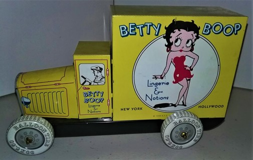 "1990 BETTY BOOP tin toy truck (not in box) - size 7 1/2"" long x 4 1/2"" high x 3"" wide - VG condition"