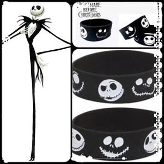 1 NIGHTMARE BEFORE CHRISTMAS Wristband JACK SKELINGTON Bracelet HOT TOPIC goth GIN=FAST SHIPPING