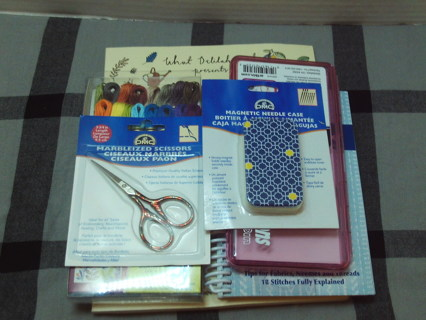 Embroidery Mixed Lot Books, Thread, Supplies