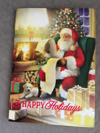 SANTA CHECKING HIS LIST AND CHECKING IT TWICE CHRISTMAS CARD
