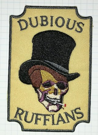 Dubious Ruffians Skull Embroidered Iron On Patch