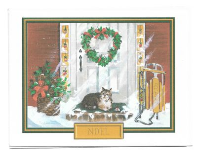 Christmas Card Unused With Envelope Cat