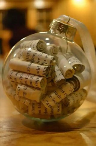 "1 Handmade Christmas Ornament Style #1 ""Antique book pages"""