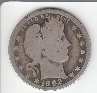 90% Silver Quarter 1902