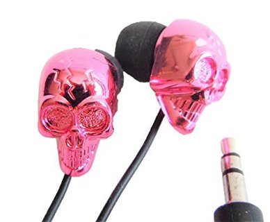 NEW Phone Crystal Skull Noise Isolation Earbuds (PINK) FREE SHIPPING