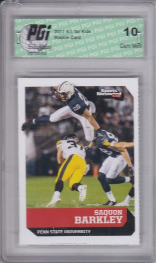 Saquon Barkley Rookie Card - 2017 Sports Illustrated - Professionally Graded Gem MINT 10 !!!