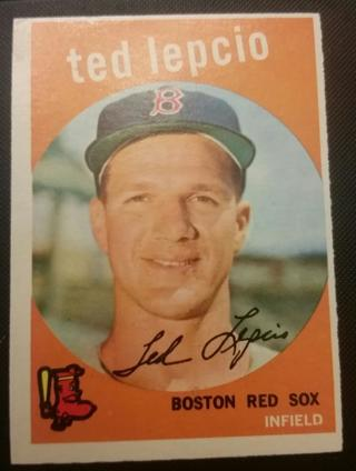1959 Topps baseball #348 Ted Lepcio Excellent condition Boston Red Sox