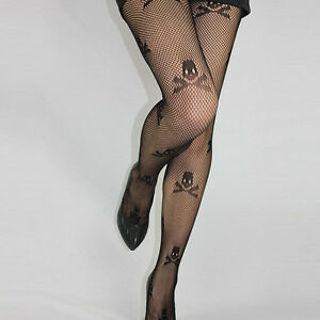 Black Fashion Sexy Skeleton Printed Stockings Tights Mesh Stockings Pantyhose