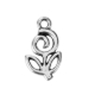 One 22x12mm Antique Silver Flower Charm / Pendant