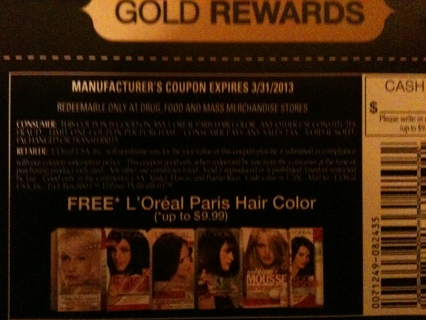 L'Oreal Paris Free Hair Color Coupon