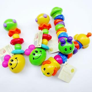 Baby Toddler Kids Bendy Rainbow Color Caterpillar Worm Bug Rattle Teething Toys