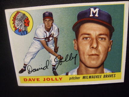1955 TOPPS BASEBALL CARD NO. 35 - DAVE JOLLY - BRAVES - PSA WORTHY