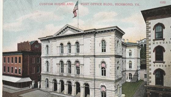 Vintage Used Postcard: 1908 Custom House & Post Office, Richmond, VA