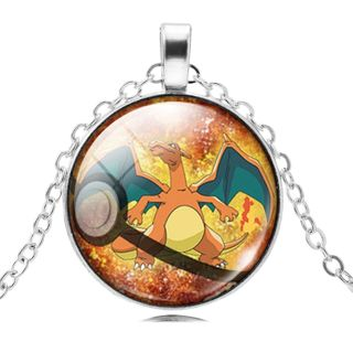 1 NEW Pokemon Silver Plated Pokeball Jewelry CHARIZARD Crystal Cabochon Necklace Pendant Necklace