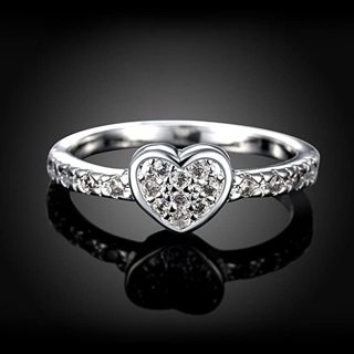 [GIN FOR FREE SHIPPING] Zircon Heart Ring 925 Jewelry Fashion Love
