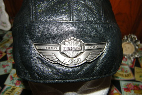 43529ca1966 FREE  genuine Harley Davidson black leather biker motorcycle skull cap doo  rag excellent condition!