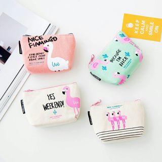 [GIN FOR FREE SHIPPING] Flamingo Portable Small Canvas Zip Wallet Coin Purse Bag