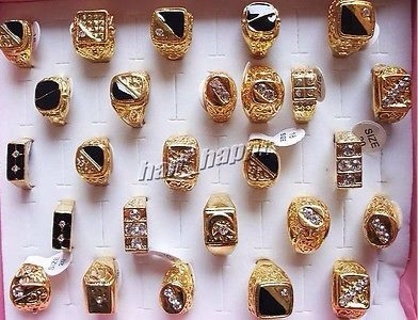 5pcs Wholesale jewelry mixed lots men's gold plated rhinestone rings