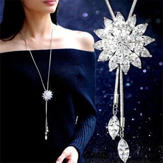 Zircon Snowflake Long Necklace Sweater Chain Fashion Fine Metal Chain Crystal Rhinestone Flower