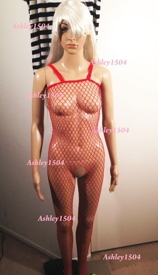 1 NEW Fishnet Lingerie Body Stocking One-Piece Body Con Red FREE SHIPPING