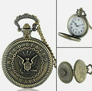Antique Quartz Pocket Watch Vintage Necklace Steampunk Pendant Chain