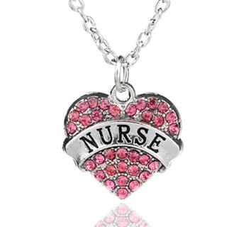 Fashion Family Crystal Love Heart Pendant Rhinestone Necklace Chain Charm NURSE